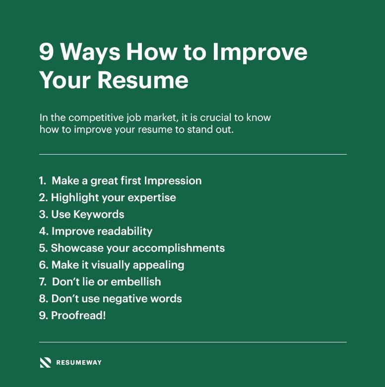 9 Ways How To Improve Your Resume