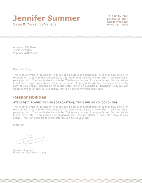 Classic Cover Letter 110740