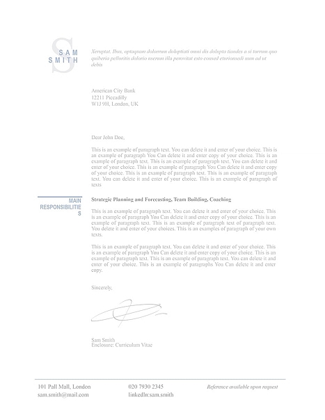 Classic Cover Letter 110760