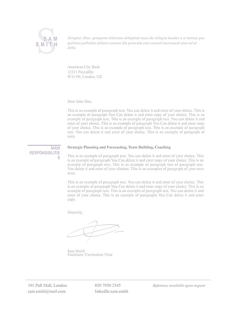 Classic Cover Letter 110770