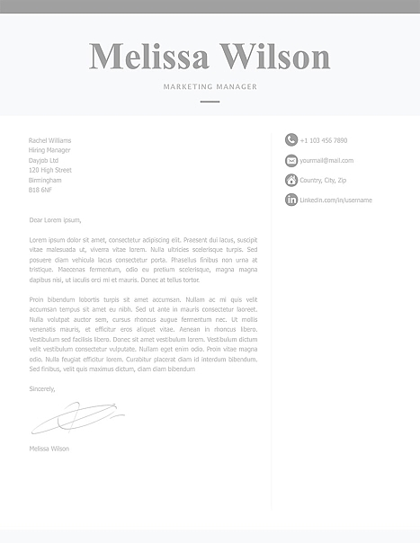 Classic Cover Letter Template 120310