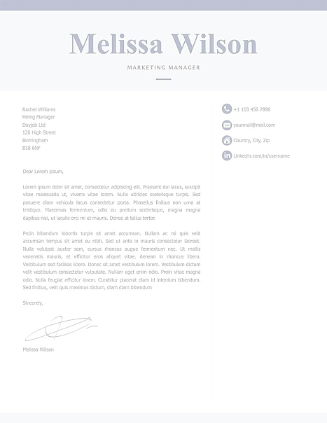 Classic Cover Letter Template 120320