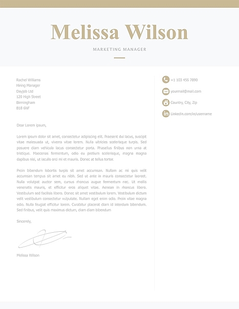 Classic Cover Letter Template 120330