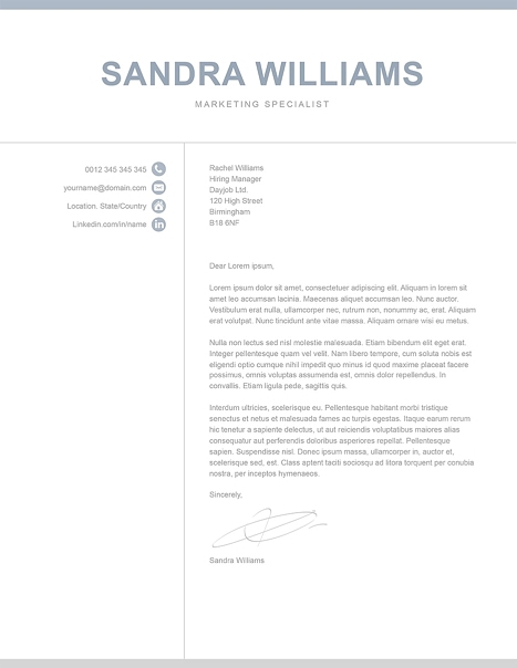 Classic Cover Letter Template 120550
