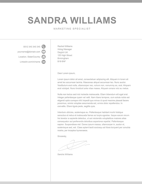 Classic Cover Letter Template 120570