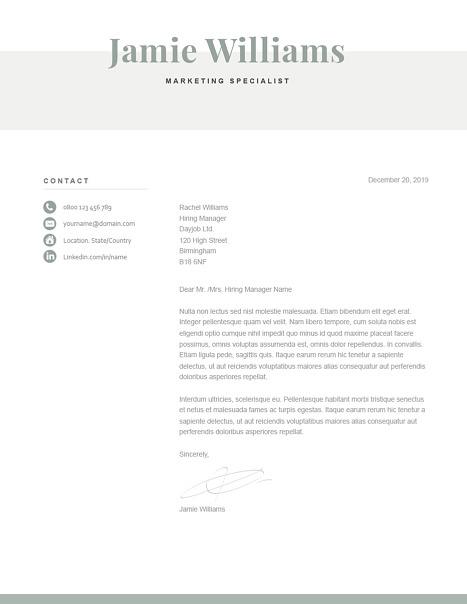 Classic Cover Letter Template 120610