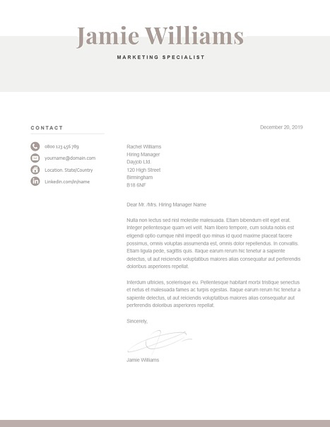 Classic Cover Letter Template 120620