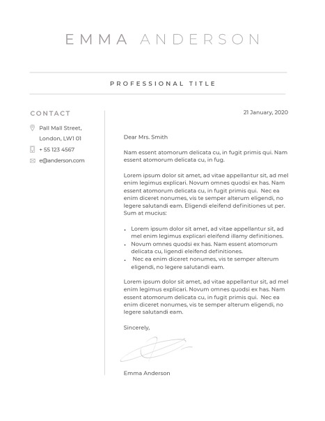 Classic Cover Letter Template 120640