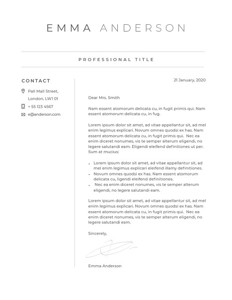 Classic Cover Letter Template 120660