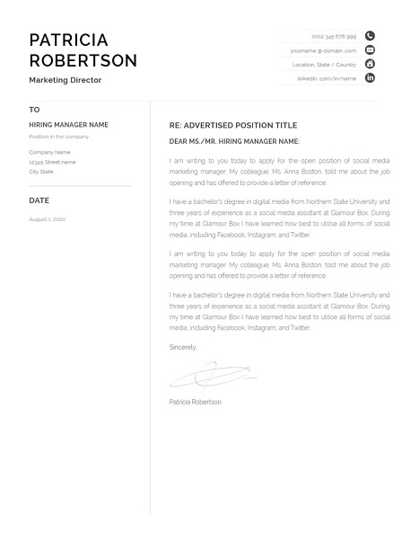 Classic Cover Letter Template 120670