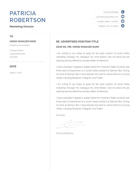 Classic Cover Letter Template 120680