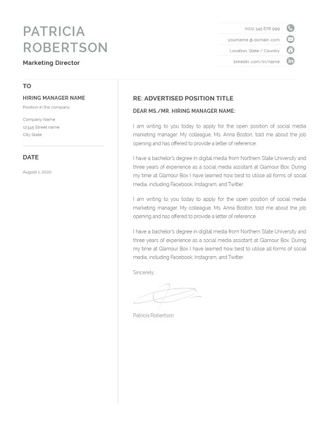 Classic Cover Letter Template 120690