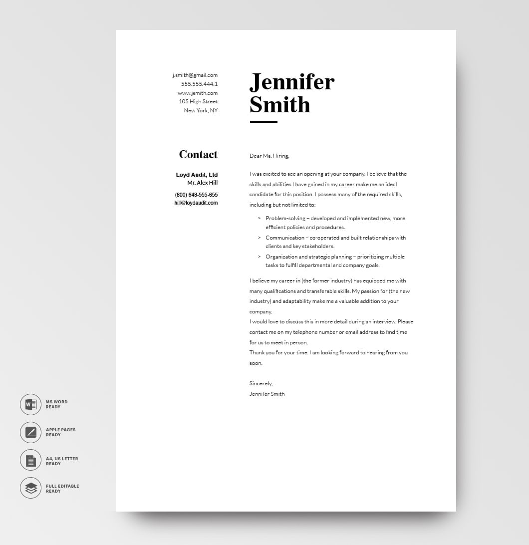 Classic Cover Letter Template 120750 Grey