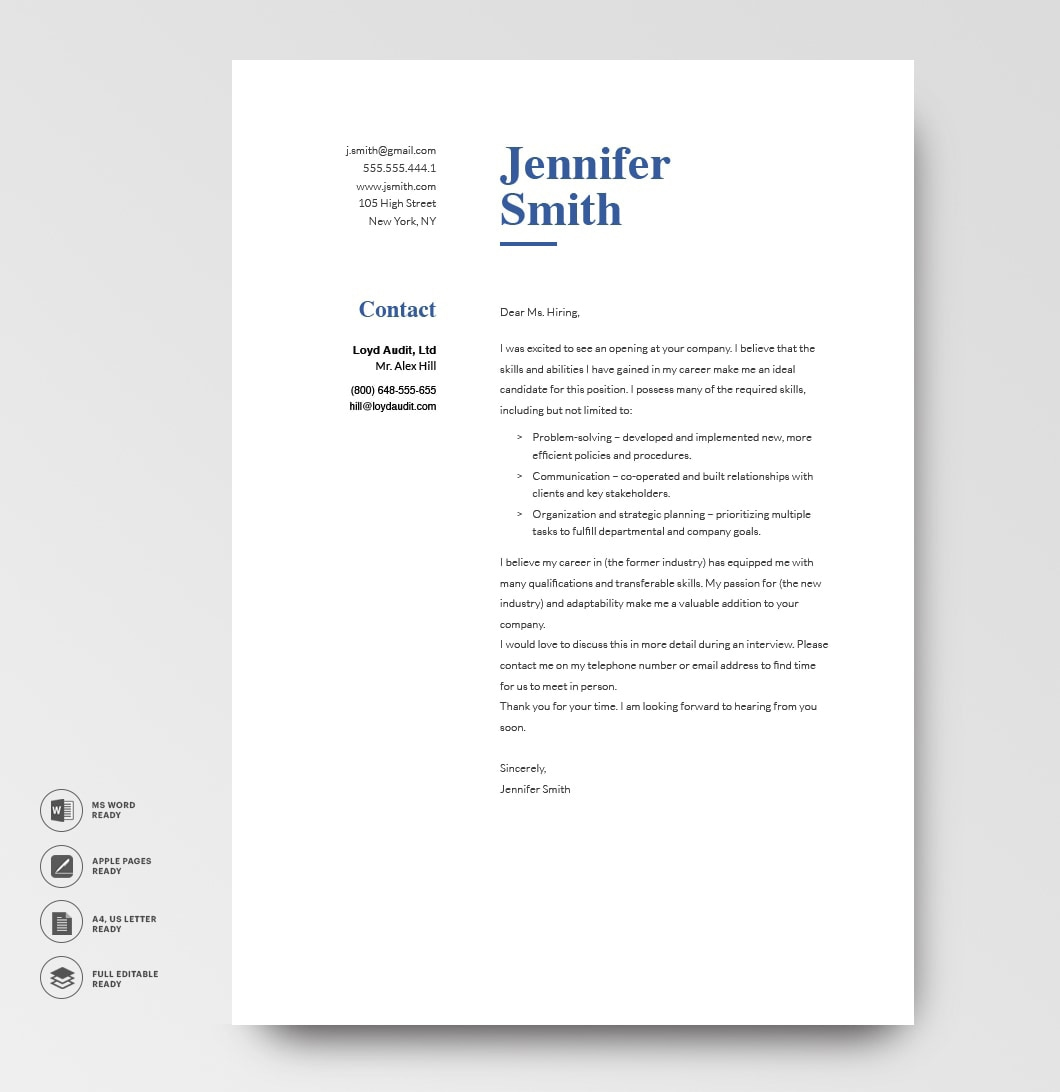 Classic Cover Letter Template 120760 Grey