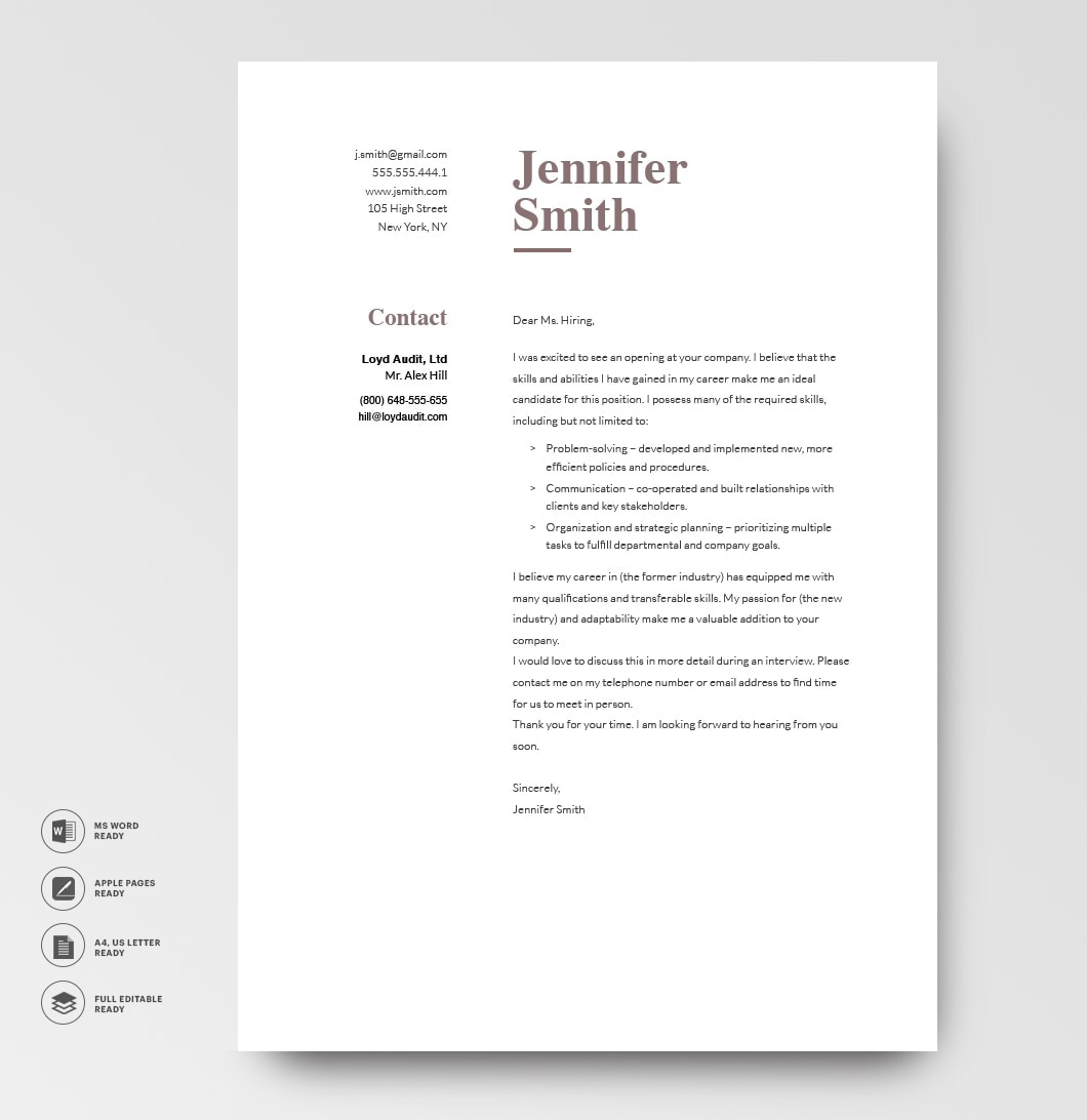Classic Cover Letter Template 120770 Brown