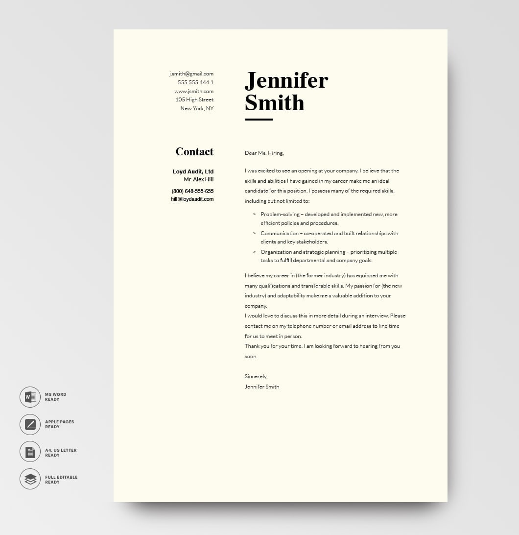 Classic Cover Letter Template 120780 Grey