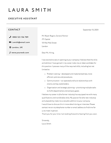 Classic Cover Letter Template 120790