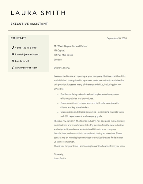 Classic Cover Letter Template 120800