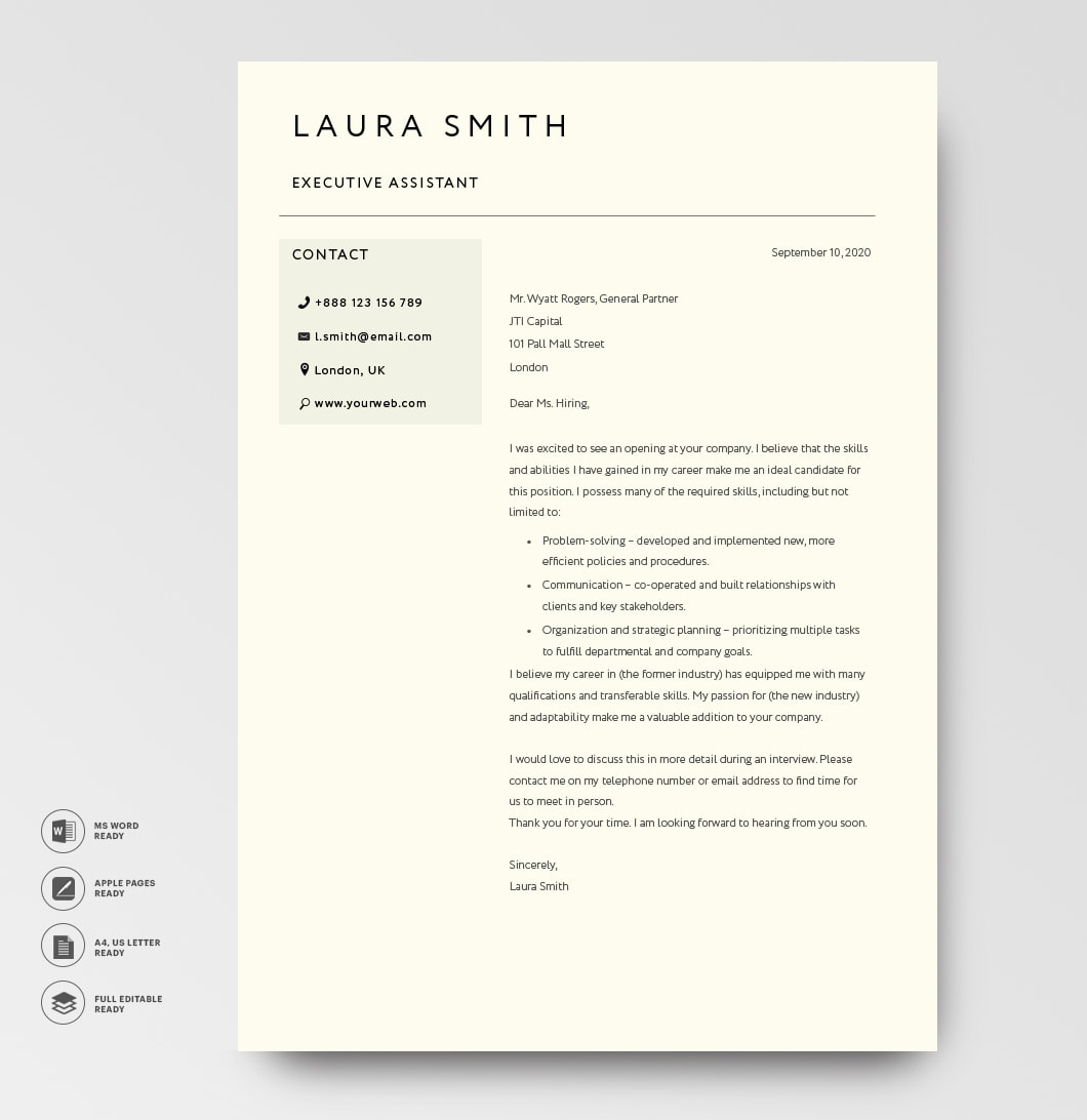 Classic Cover Letter Template 120800 Black