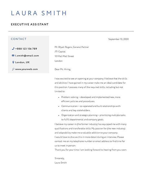 Classic Cover Letter Template 120810