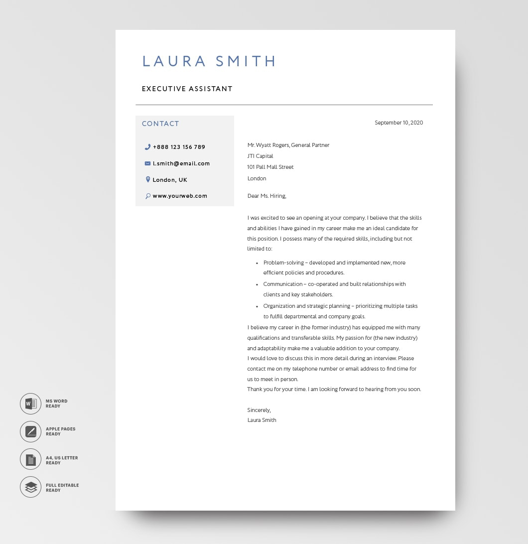 Classic Cover Letter Template 120810 Blue