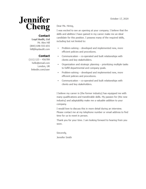 Classic Cover Letter Template 120830