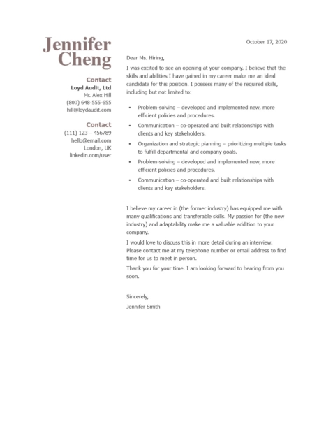 Classic Cover Letter Template 120850