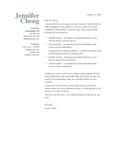Classic Cover Letter Template 120860