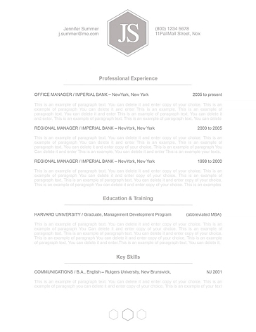 Classic Resume Template 110590