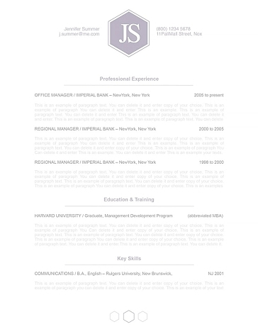 Classic Resume Template 110610