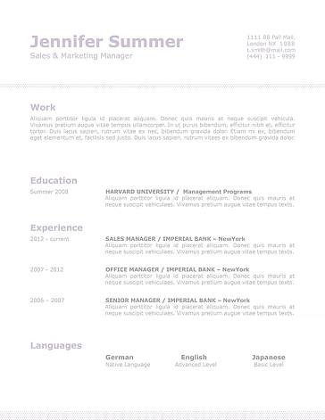 Classic Resume Template 110710