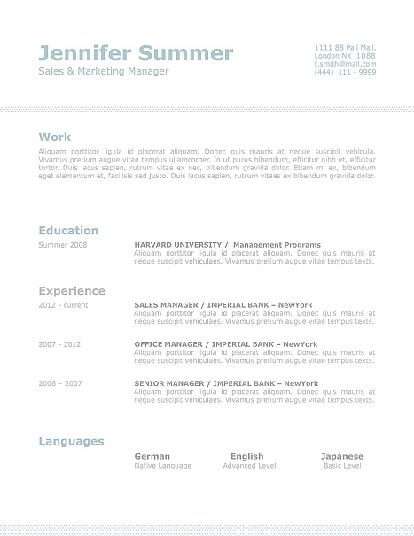 Classic Resume Template 110720