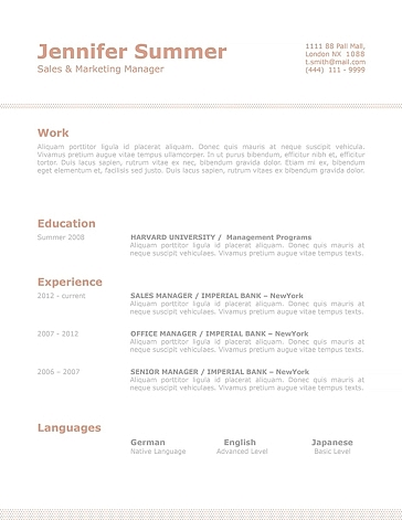 Classic Resume Template 110740