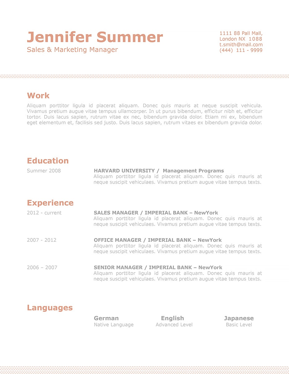 Resume Template 110740