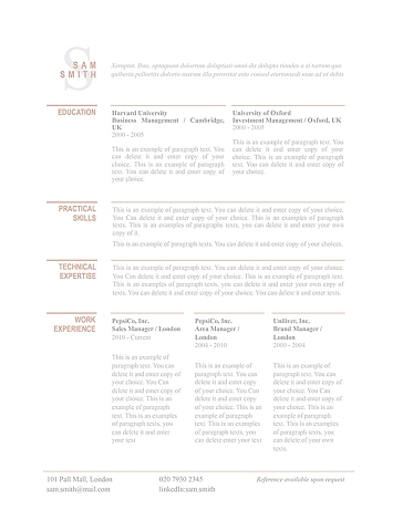 Classic Resume Template 110750