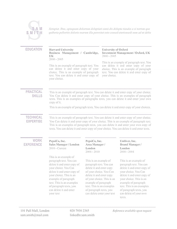 Classic Resume Template 110770