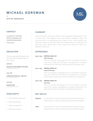 Classic Resume Template 120190