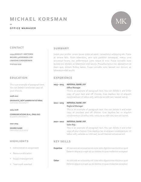 Classic Resume Template 120210