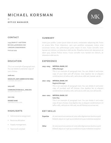 Classic Resume Template 120220
