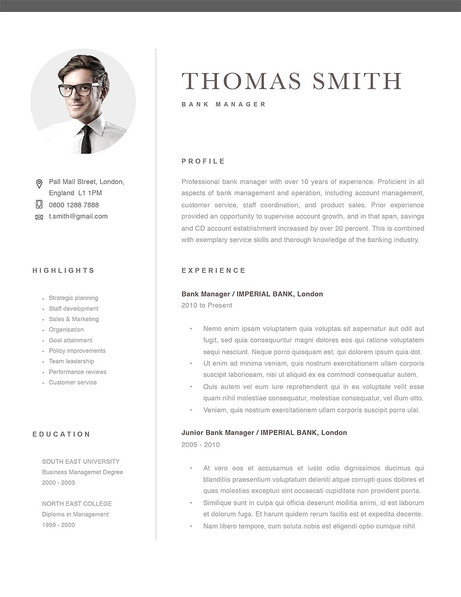 classic resume template  120290   color  black