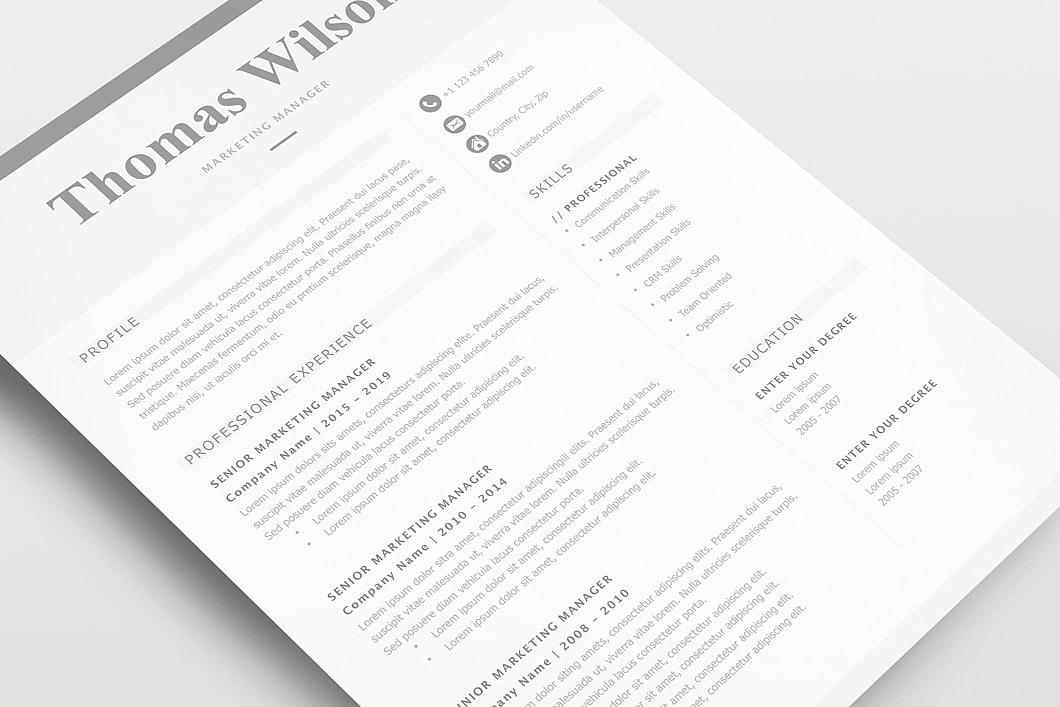 Classic Resume Template 120310 2