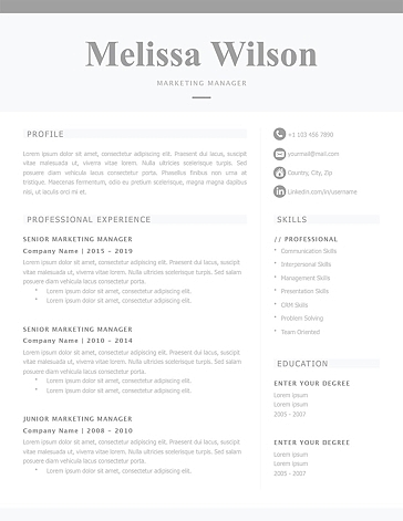 Classic Resume Template 120310