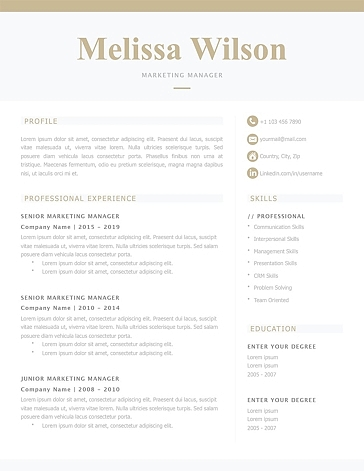 Classic Resume Template 120330