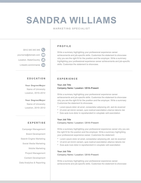 Classic Resume Template 120550