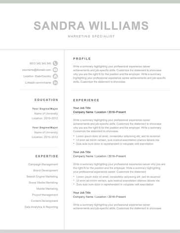 Classic Resume Template 120560