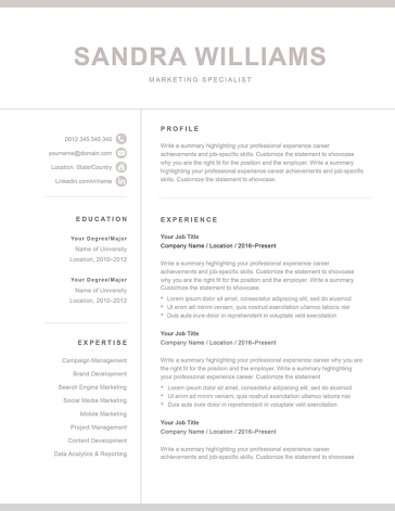 Classic Resume Template 120580