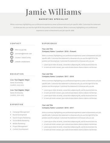 Classic Resume Template 120590
