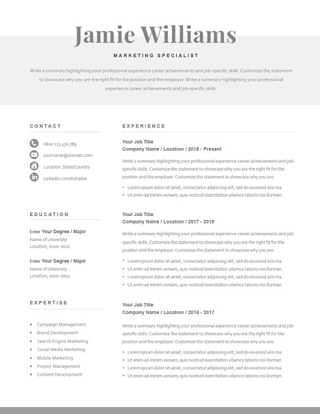 Classic Resume Template 120590