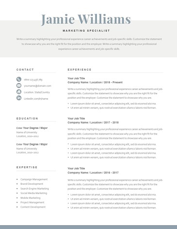 Classic Resume Template 120600