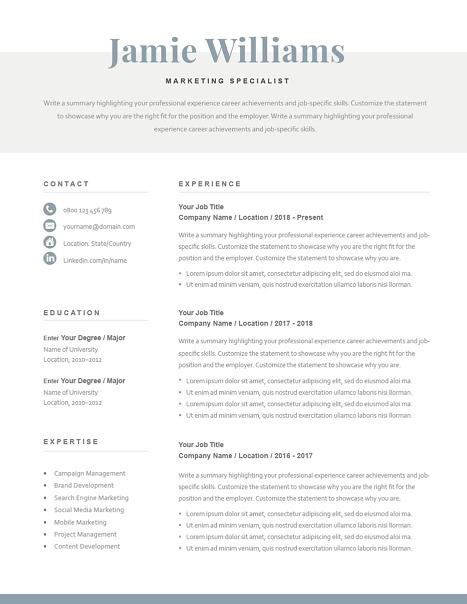 Classic Resume Template 120600